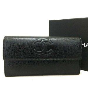💯Auth CHANEL CC Caviar Skin Long Bifold Wallet